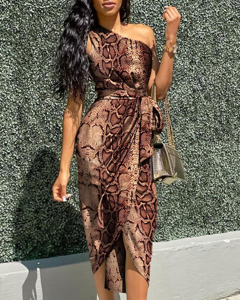 One Shoulder Snakeskin Print Tied Detail Dress With Belt, chicme, brown  - buy with discount