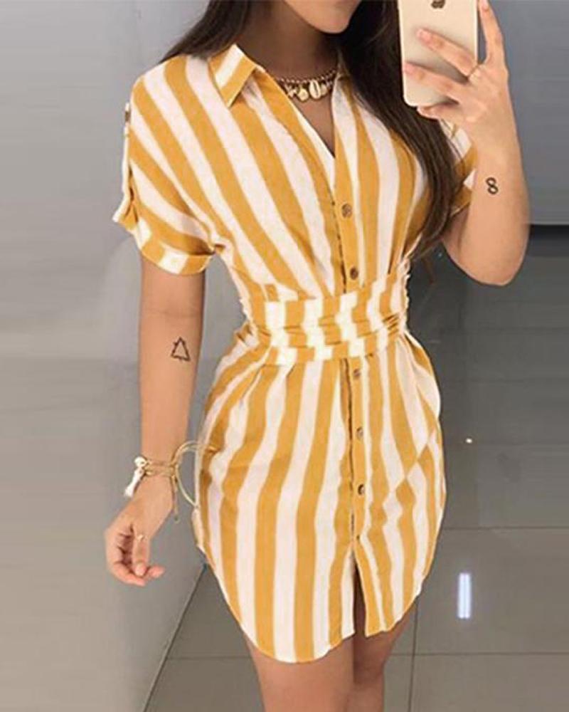 Women's Striped Printed Shirt Dress