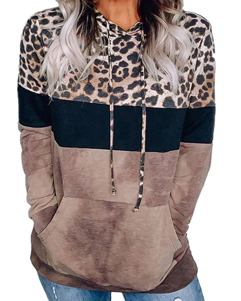 Cheetah Print Colorblock Pocket Design Casual Hoodie thumbnail