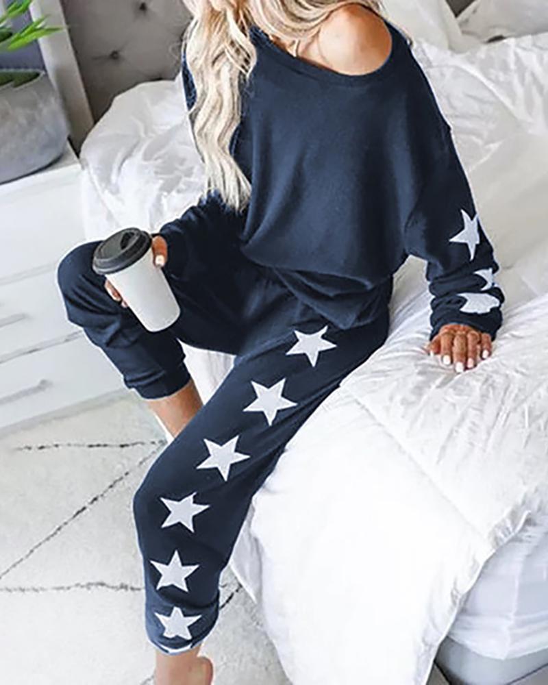 Ensembles de pyjamas haut et pantalon à imprimé étoiles
