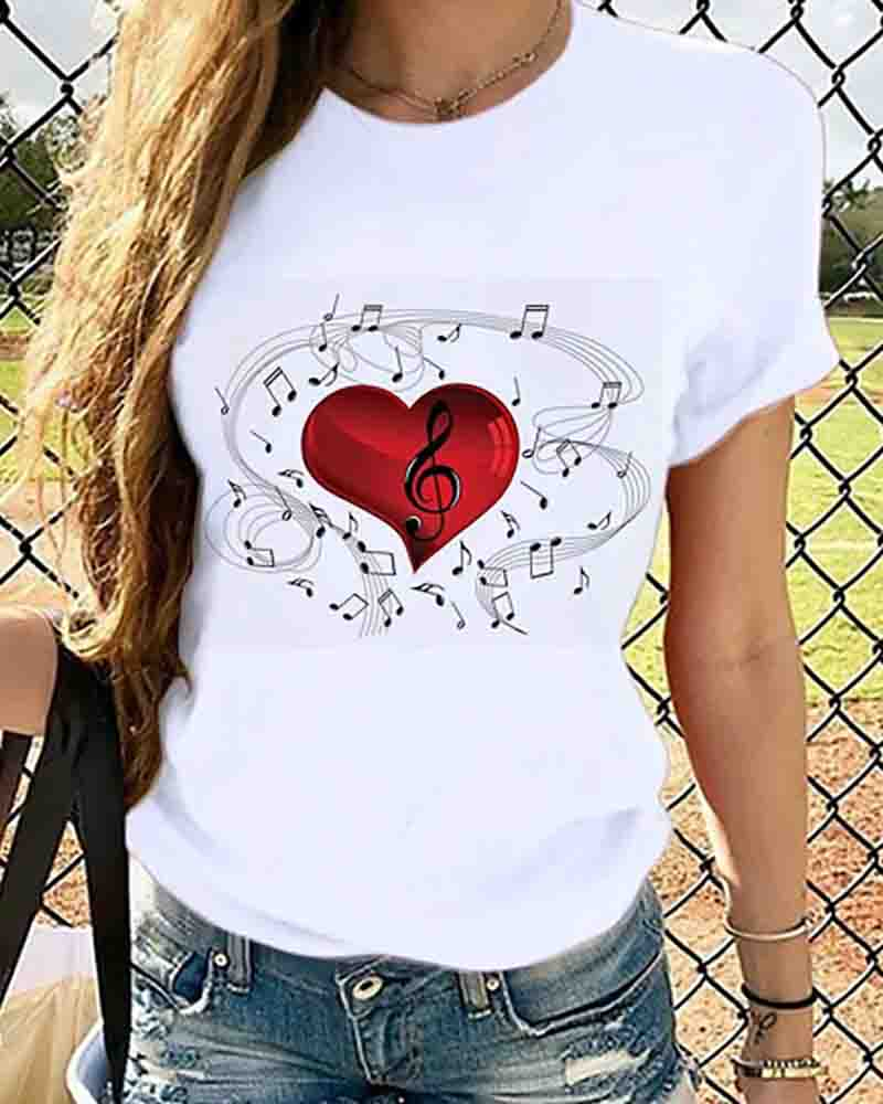 Round Neck Tops Heart Butterfly Print Cotton Basic T-shirt