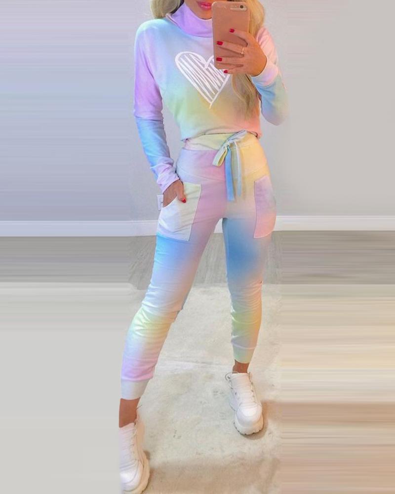 Ombre Colorblock Heart Print Top & Pocket Design Pants Set