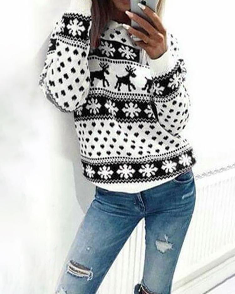 Fashion Christmas Deer Print Casual Sweatshirt