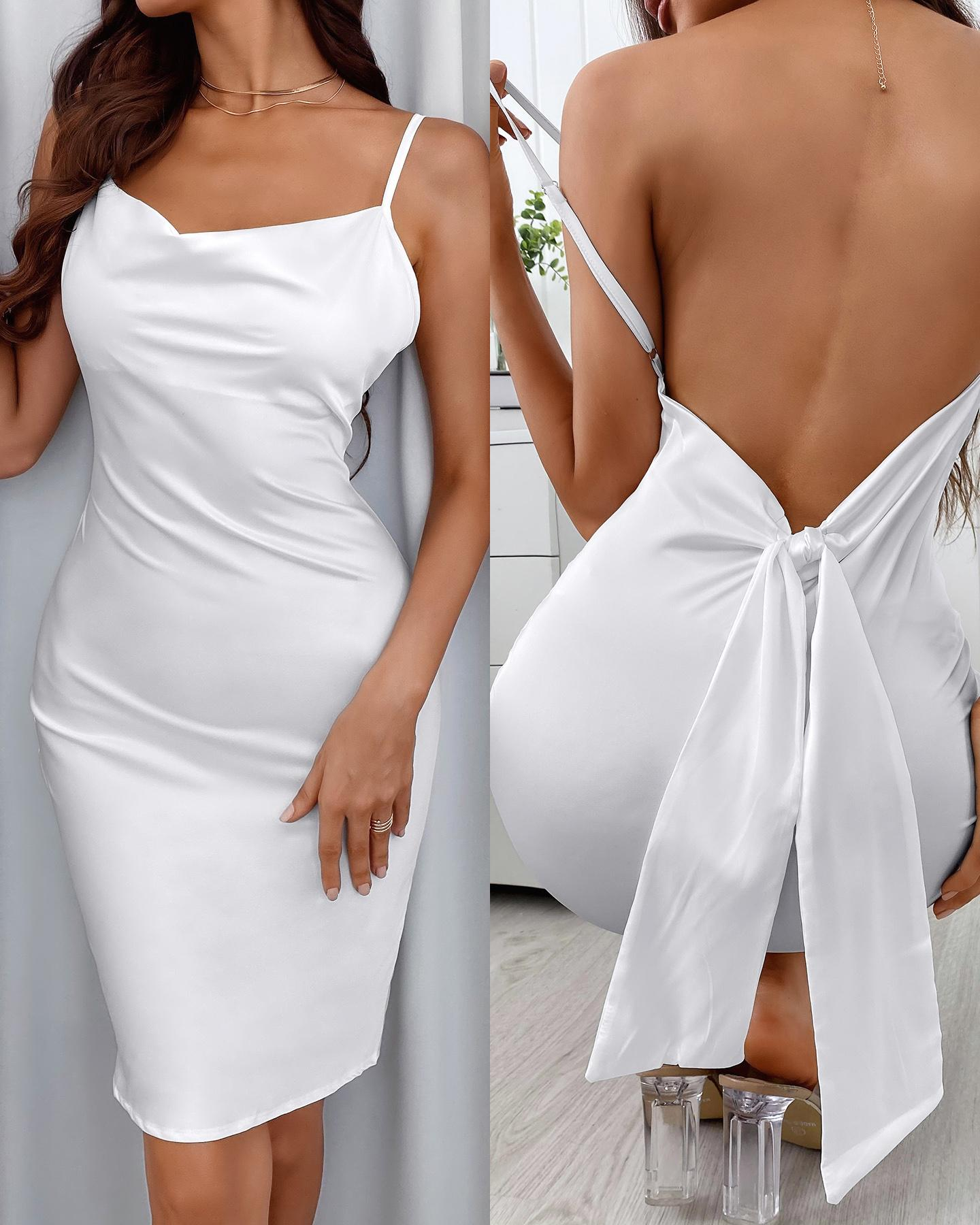 Spaghetti Strap Cowl Neck Backless Knotted Design Midi Dress