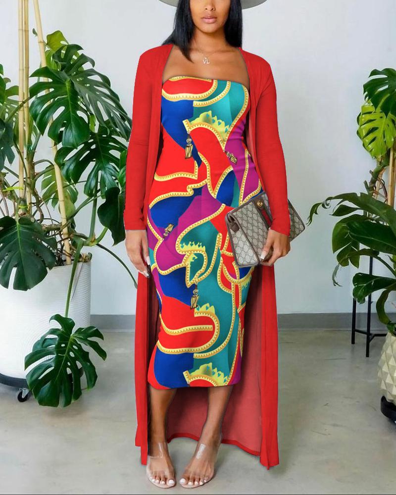 Colorblock Print Tube Bodycon Dress With Longline Cardigan Set