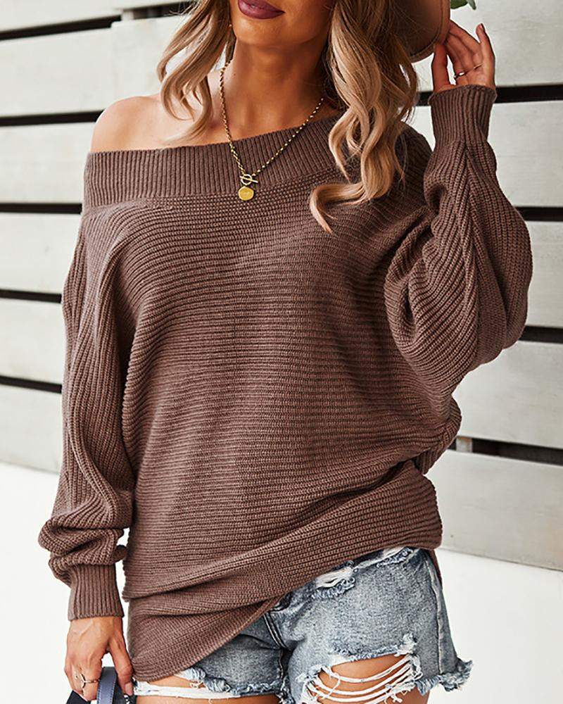 One Shoulder Long Sleeve Knit Sweater