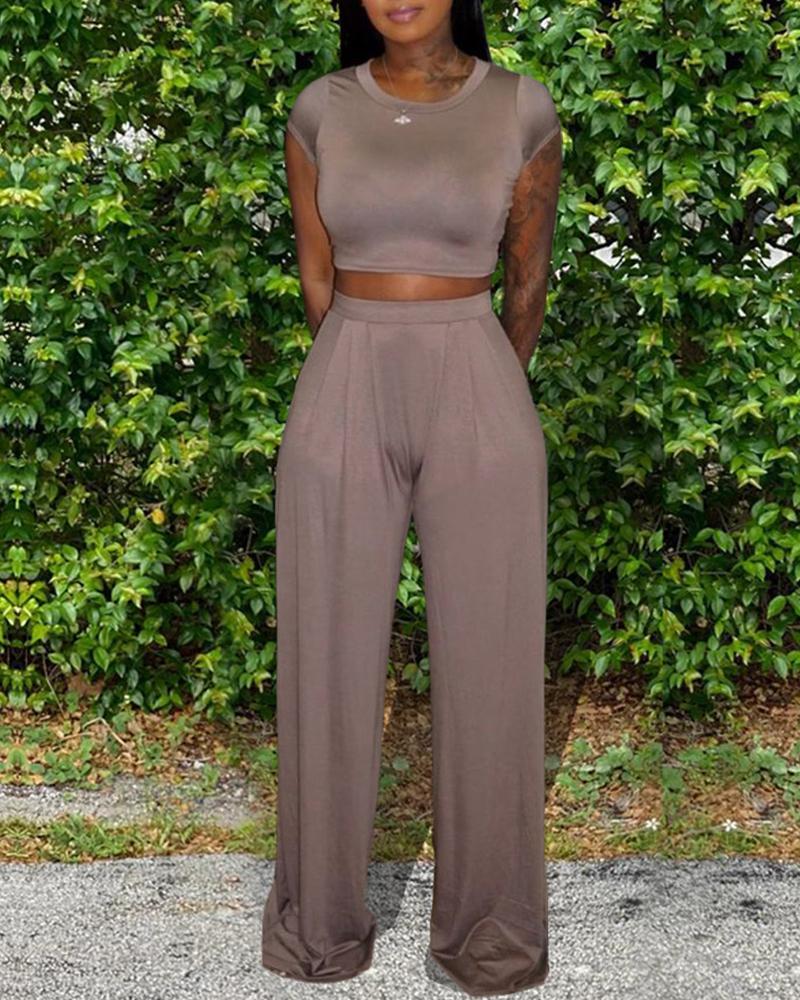Solid Crop Top & Pants Set