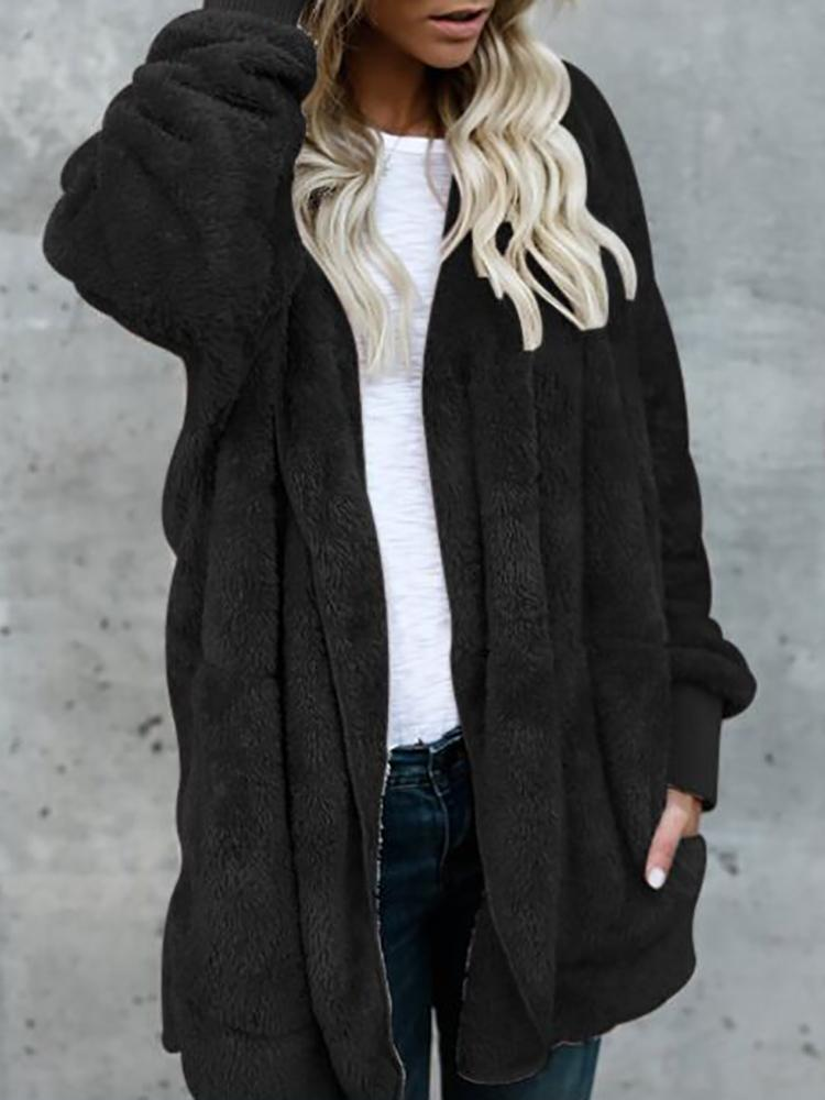 Joyshoetique coupon: Warm Solid Pocket Design Hoodies Fluffy Oversize Jacket - Black