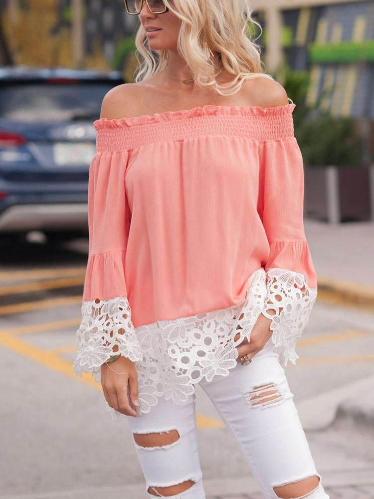 ChicMe coupon: Off Shoulder Shirring Guipure Lace Blouse