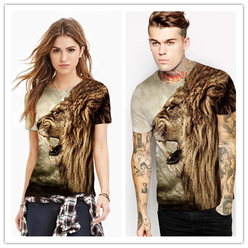 Camiseta con estampado de patrón de león de moda unisex Tops cuello redondo Casual Hip Hop Street WearT Shirt