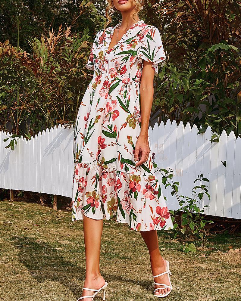Short Sleeve Frill Hem Ruched Floral Print Dress