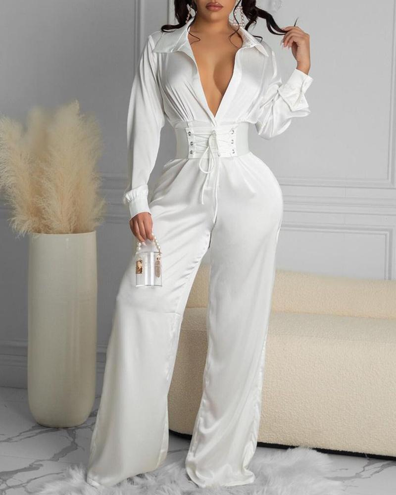 Satin Plunge Jumpsuit With Eyelet Lace-up Corset