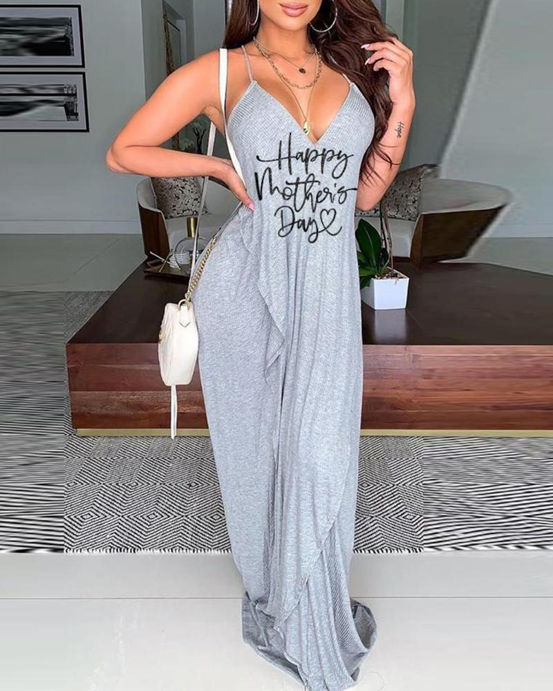 Mother's Day Letter Print Ruched Maxi Dress thumbnail
