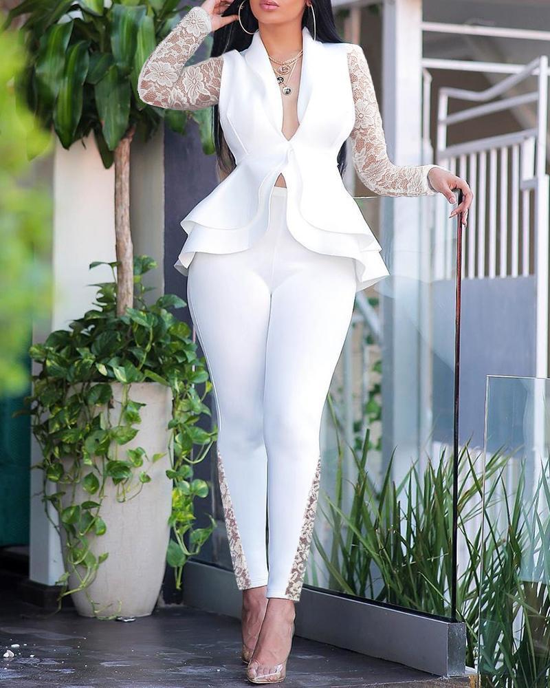 Contrast Lace Ruffles Design Top & Skinny Pencil Pants Set