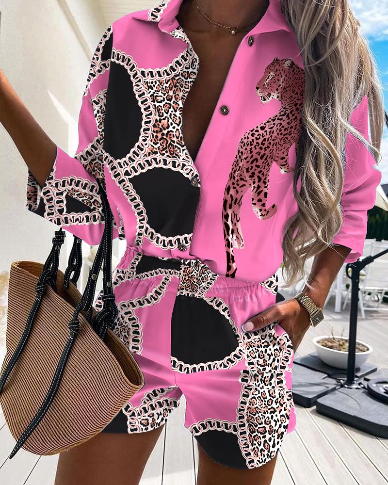 Chain Leopard Print Button Design Casual Shirt & Shorts Set