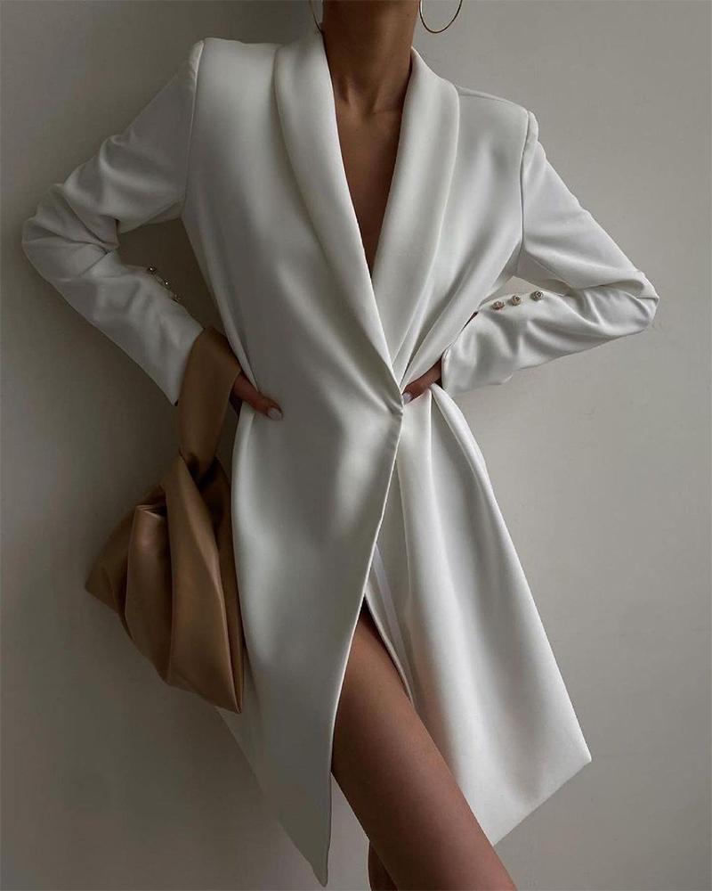 Solid Shawl Collar Blazer Dress
