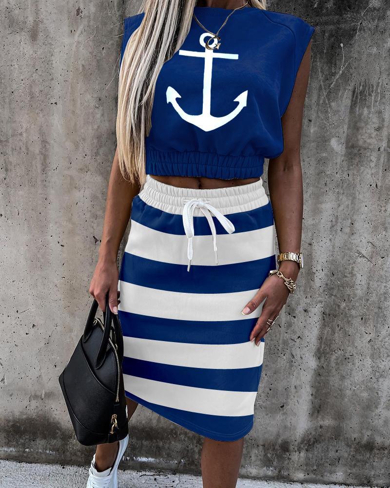 Anchor Striped Short Sleeve Top & Drawstring Skirt Set