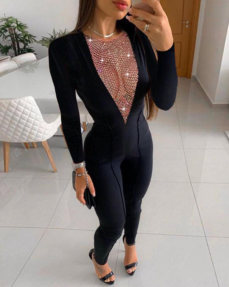 Studded Long Sleeve Skinny Jumpsuit