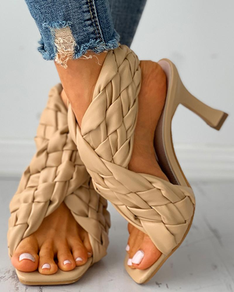 chicme / Braided Square Toe Slingback Heeled Sandals
