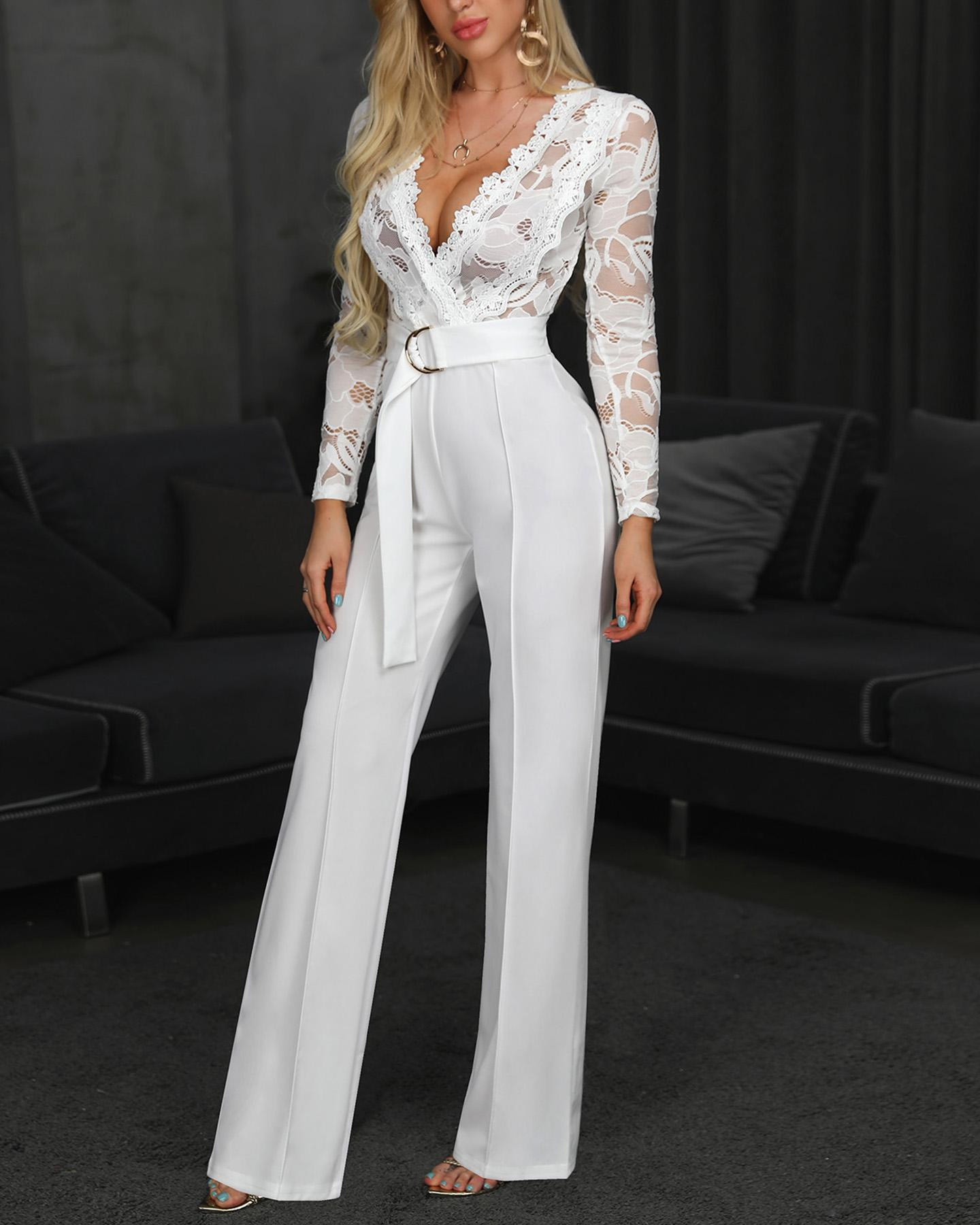 Lace Bodice Plunge Long Sleeve Jumpsuit thumbnail