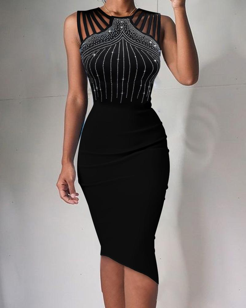 Round Neck Studded Detail Hollow-out Bodycon Dress, boutiquefeel, black  - buy with discount