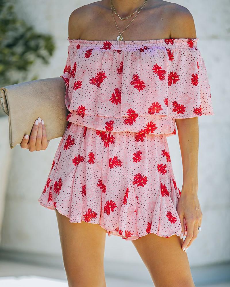 Floral Print Ruffle Hem Off Shoulder Short Sleeve Rompers