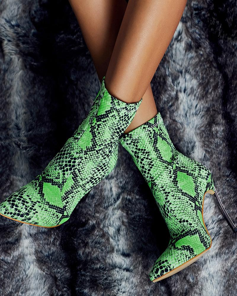 Womens Fluorescent Snake Print High Heel Ankle Booties