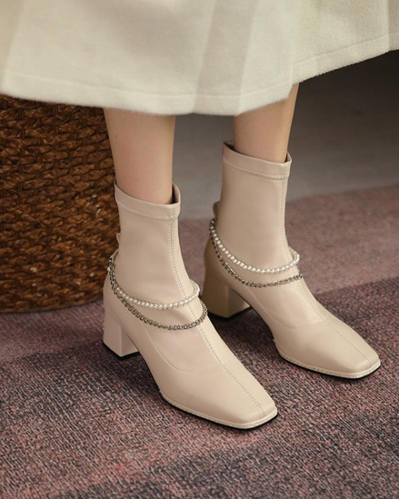Womens Leather Square Toe Heels Beaded And Chain Decoration Ankle Booties