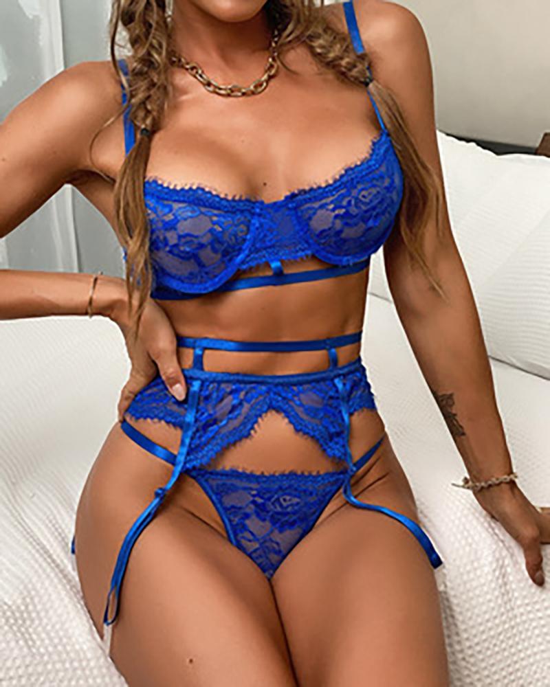 Crochet Lace Push Up Sleeveless Garter Lingerie Set, Blue
