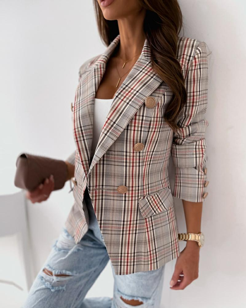 Plaid Long Sleeve Double Breasted Flap Detail Blazer