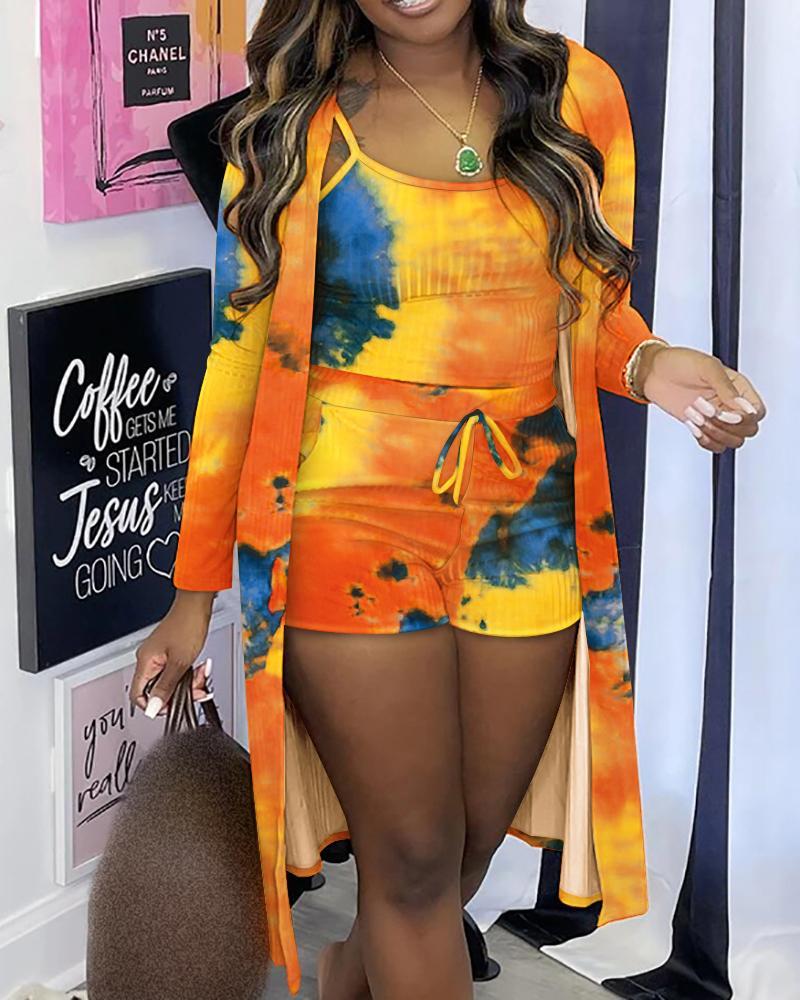 Tie Dye Ribbed Cami Top & Drawstring Shorts With Coat Set
