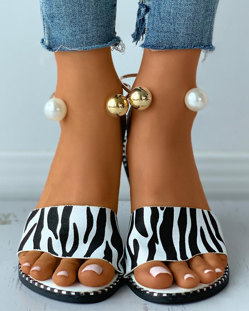 Cheetah / Zebra Stripe Print Beaded Ankle Strap Flat Sandals thumbnail