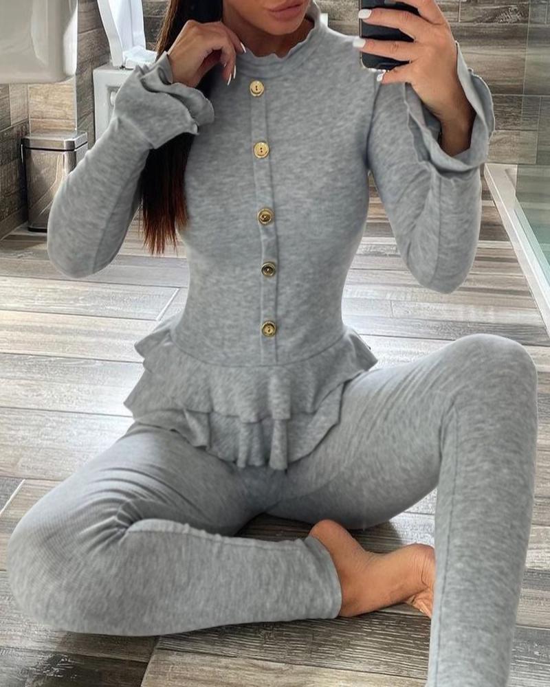 Buttoned Ruffle Hem Top & High Waist Pants Set