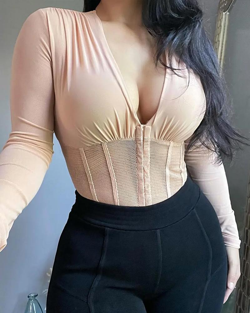 V-Neck See Through Contrast Fishnet Zipper Design Bodysuit
