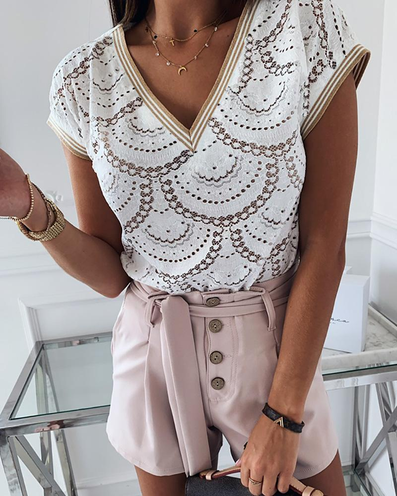 Short Sleeve Hollow Out Casual Blouse