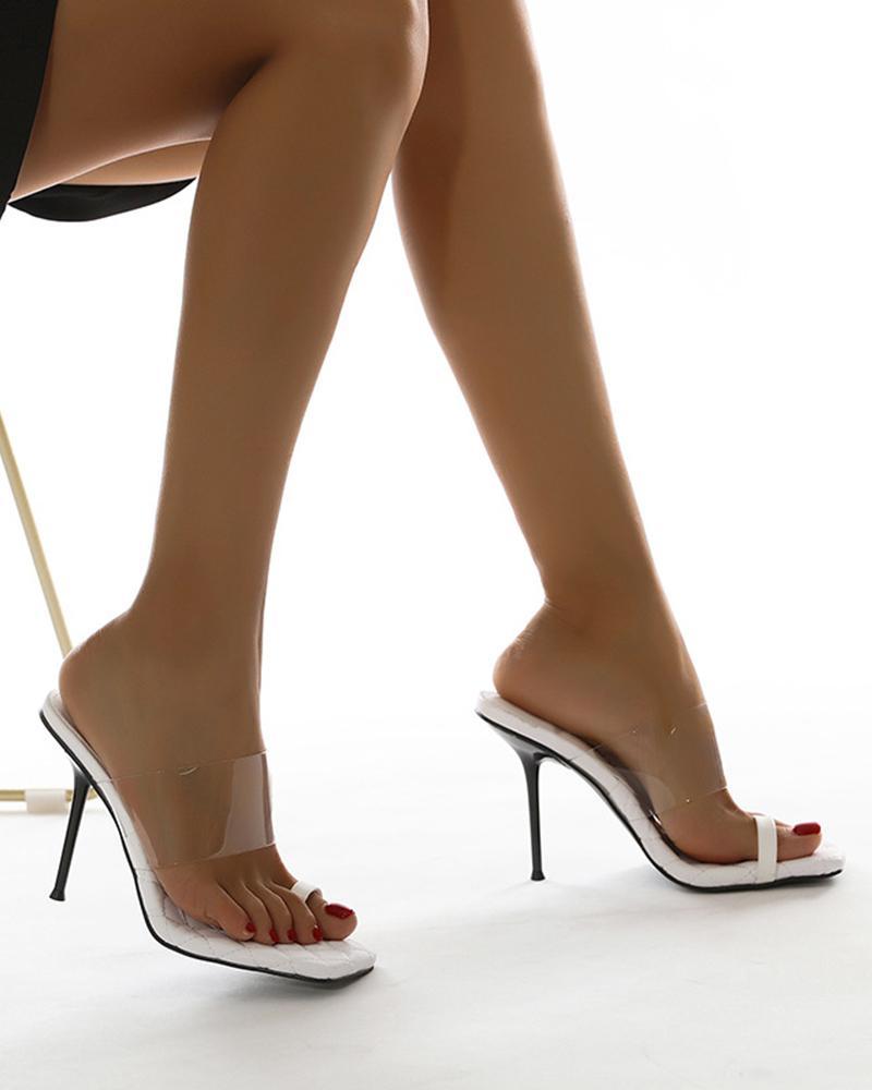 Square-toe Clear Strap Toe Post Stiletto Heels