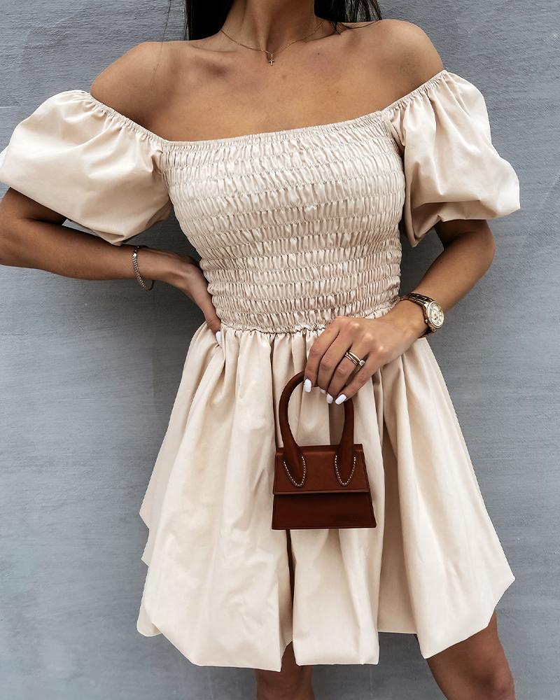 Solid Off Shoulder Puff Sleeve Mini Dress