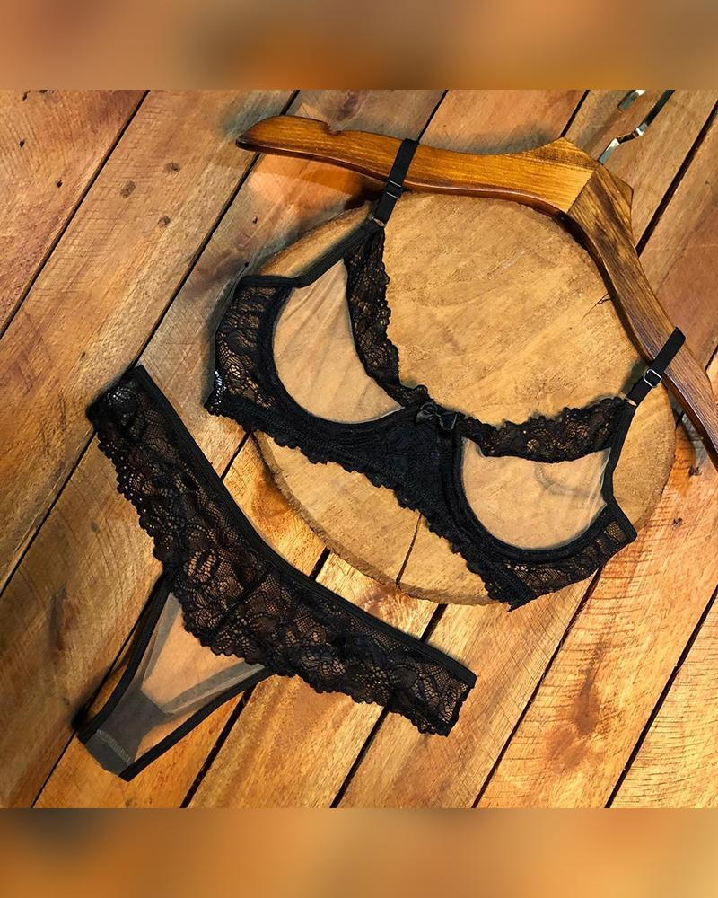 Color Block Lace Sling Bow Sling Bra With Panties Bra Sets