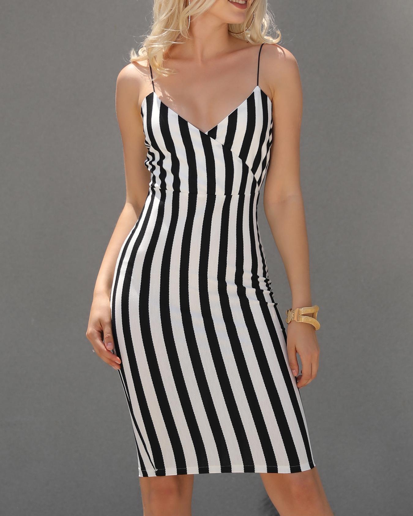 Joyshoetique coupon: Sexy Striped Wrapped Slip Bodycon Dress