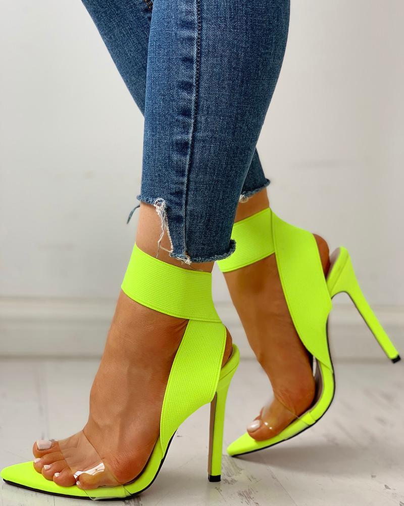 Transparent Elastic Bandage Thin Heeled Sandals