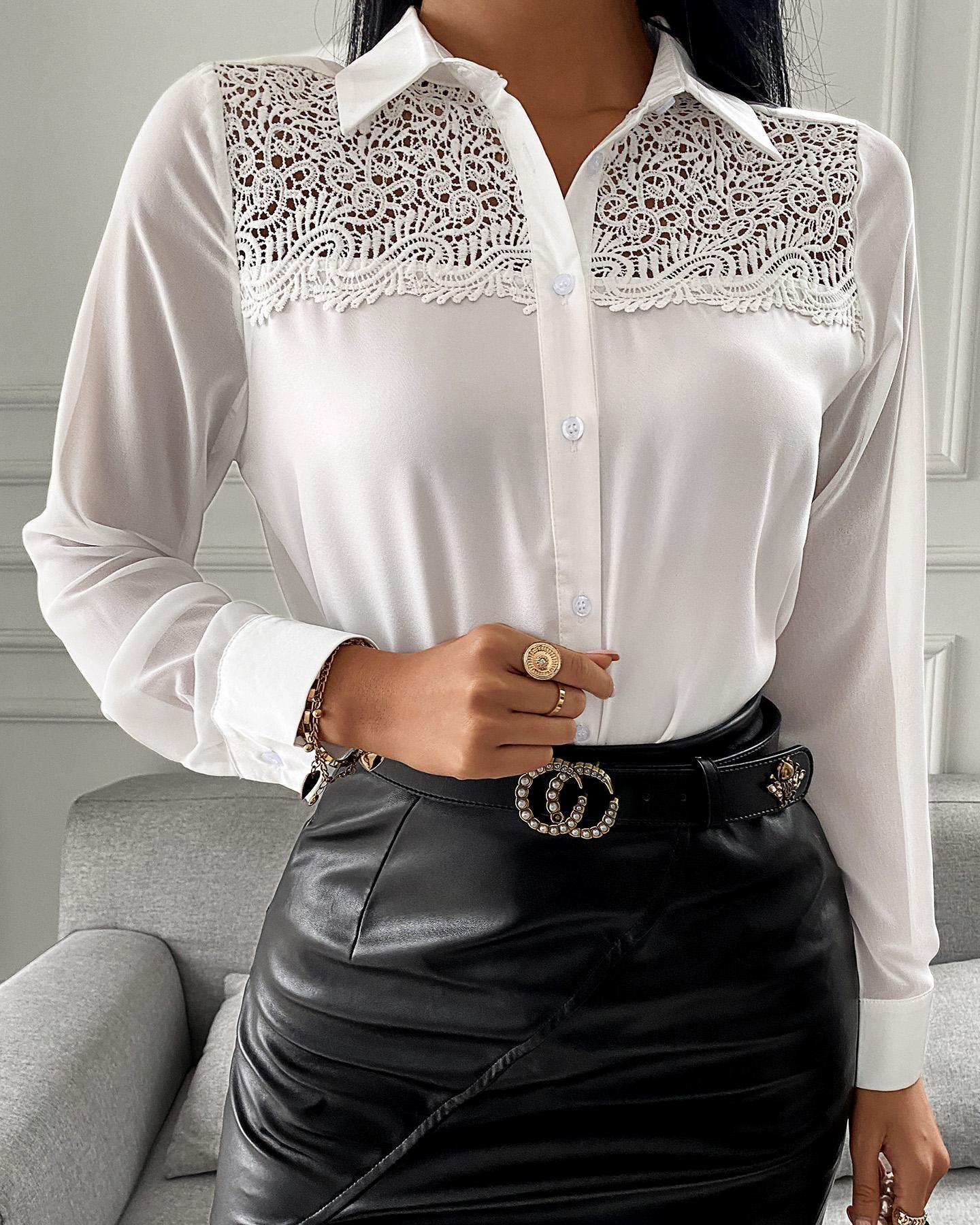 Guipure Lace Button Front Shirt