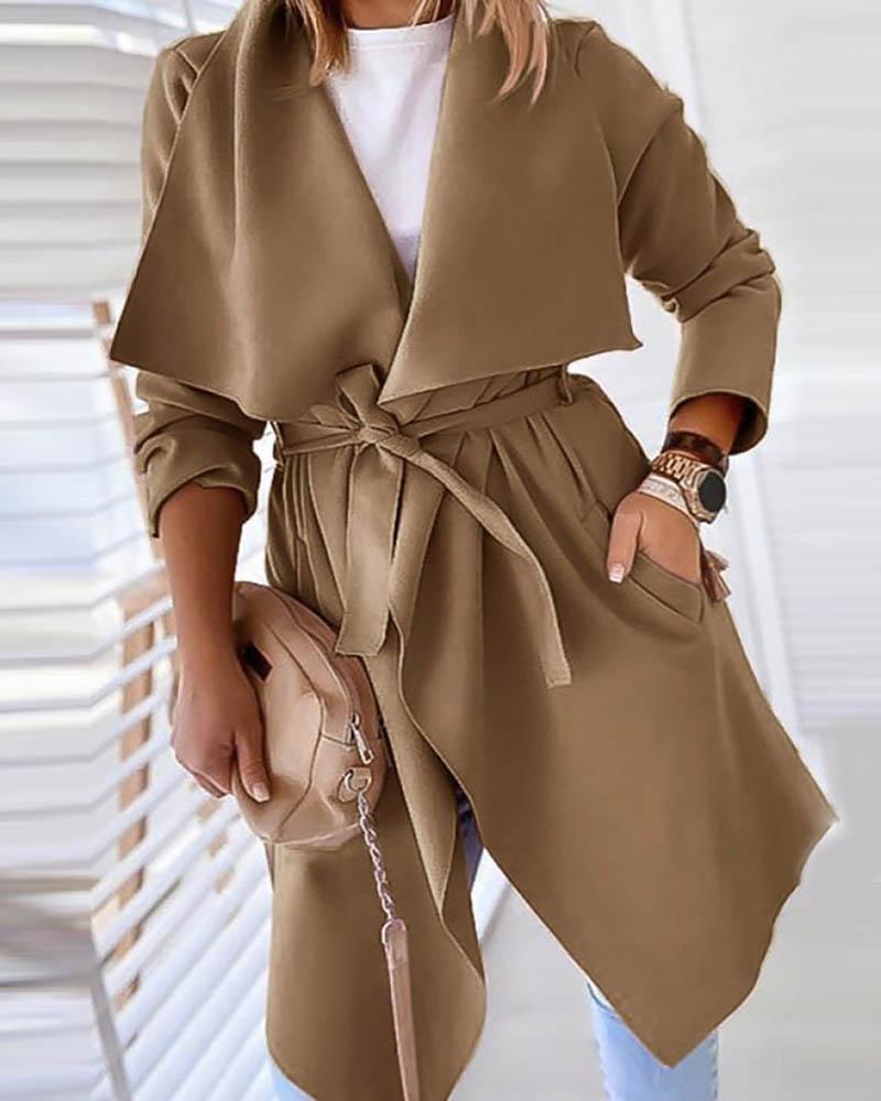 Solid Pocket Design Long Sleeve Casual Cardigan