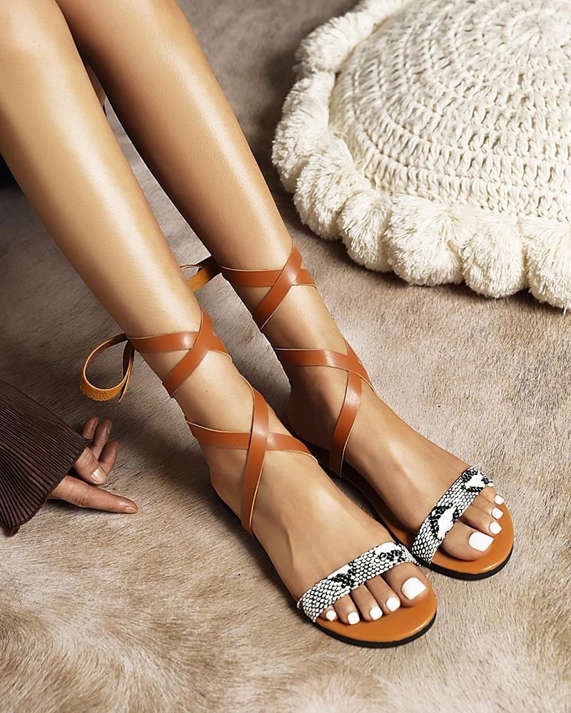 Solid Strappy Boho Open-toe Flat Sandals