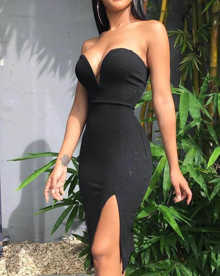 ChicMe coupon: Sweetheart Neck Slit Side Party Dress