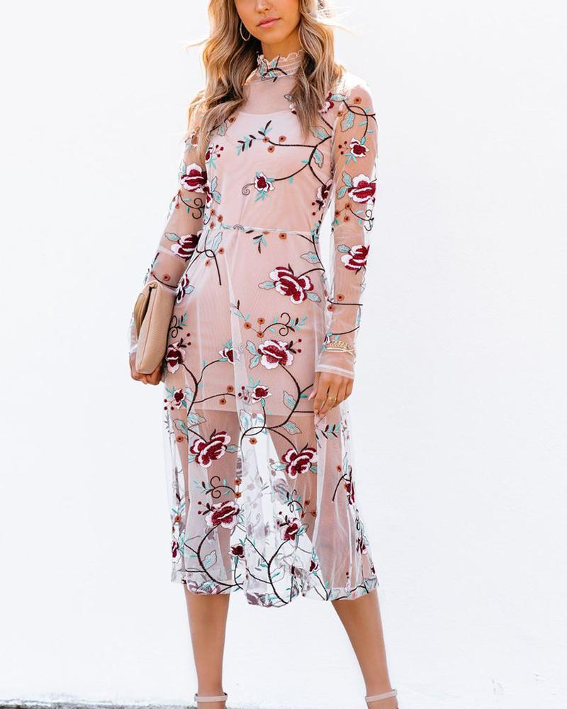 See-through Mesh Splicing Floral Embroidery Long Sleeve Midi Dress