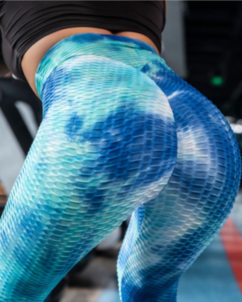 Bubble Textured High Waisted Tie Dye Print Butt Lifting Yoga Pants