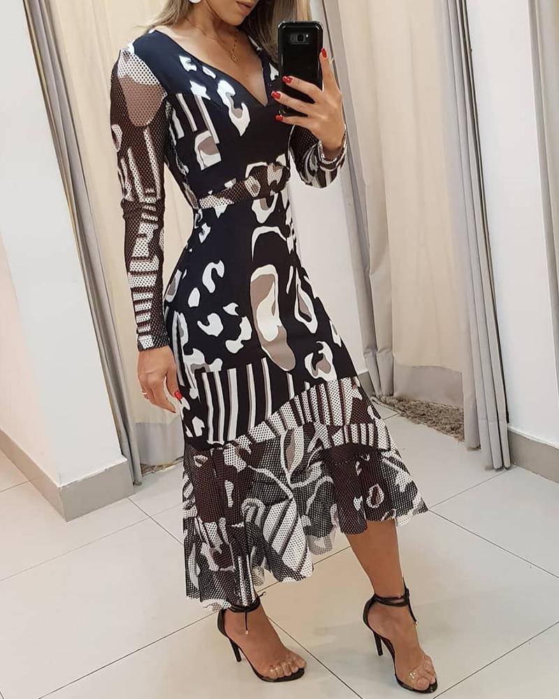 Random Dots Print V Neck Mesh Trim Maxi Dress