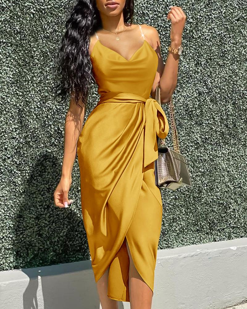 Cowl Neck Slit Ruched Party Dress
