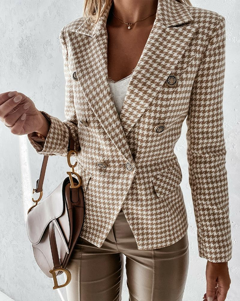 Houndstooth Lapel Collar Double Breasted Flap Detail Blazer Coat