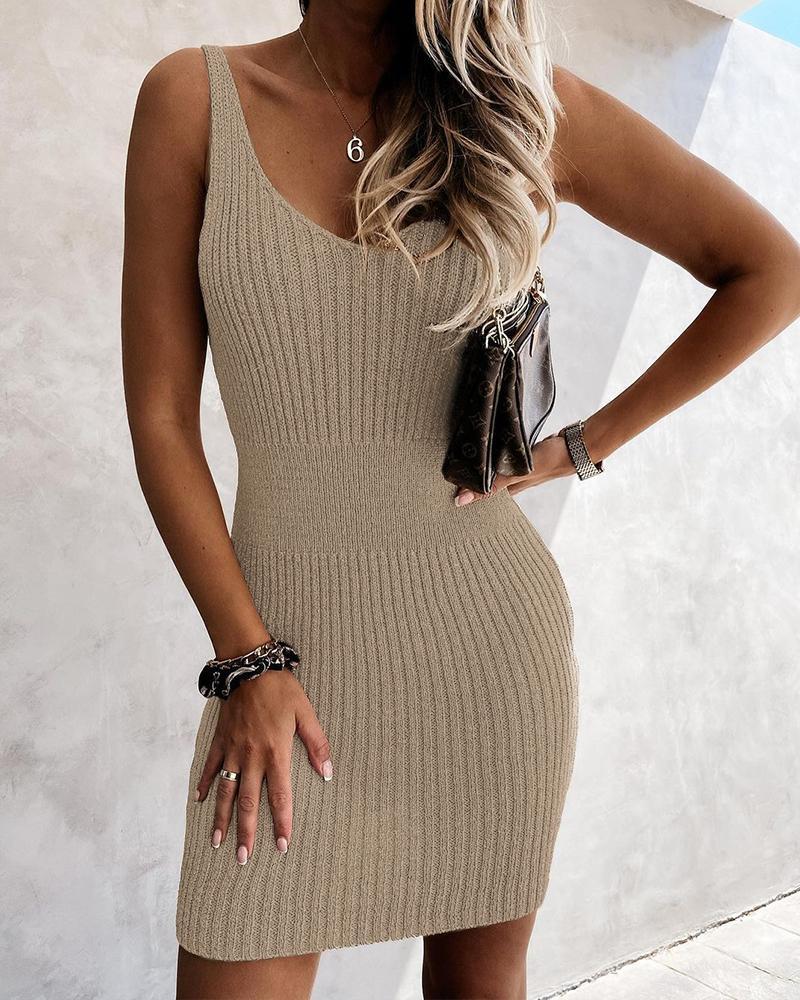 Solid Strap Slim Midi Dress
